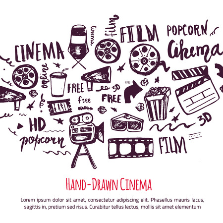 cinematography: Cinema hand drawn set with lettering. Movie making banner. Film symbols collection. Cinematography design items: camera, film tape, popcorn, chair, stars