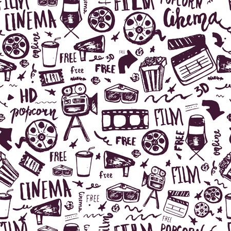 cinematography: Cinema hand drawn seamless pattern with lettering. Movie making film symbols collection. Cinematography design items: camera, film tape, popcorn, chair, stars Illustration