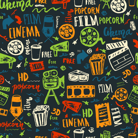 cinematography: Cinema hand drawn seamless pattern with lettering on dark. Movie making film symbols collection. Cinematography design items: camera, film tape, popcorn, chair, stars Illustration