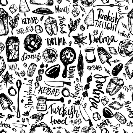Turkish food hand drawn seamless pattern with lettering and beverages with Kebab, Dolma, Shakshuka. Freehand vector doodles isolated on white background. Иллюстрация
