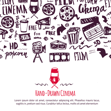 cinematography: Cinema festival poster with seamless pattern on background with attributes of film industry. Cinematography design items: camera, film tape, popcorn, chair, stars