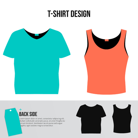 tshirt designs: Set of man and woman short T-shirt designs. Blue and pink vector T-shirts with back side isolated on white background