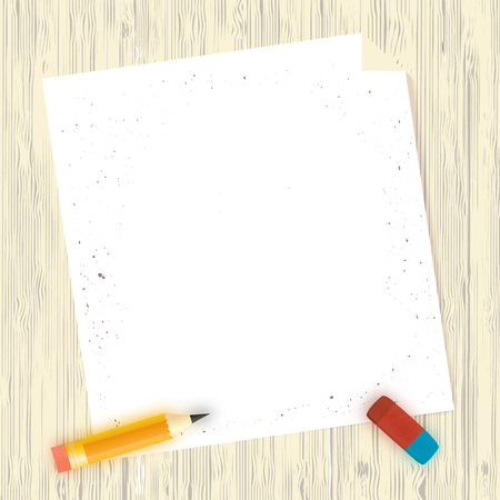 wooden work: Blank sheets of paper on wooden background. Top View with pencil and eraser. Preparation for work concept.