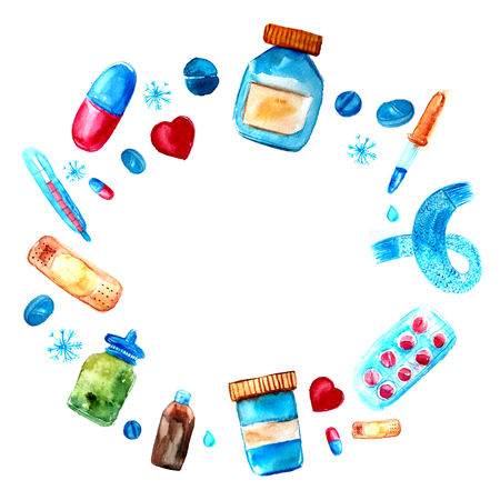 Watercolor medicine tablets and pills, capsules frame. Hand drawn pharmaceutical objects frame. Round border