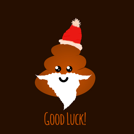 Emoji of santa shit with smiley face, vector illustration. Greeting for Christmas - Good luck