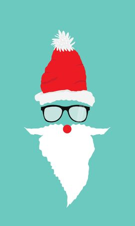 Santa with beard, glasses and mustache. Overlay design for photos and greeting cards. Flat vector illustration Ilustração