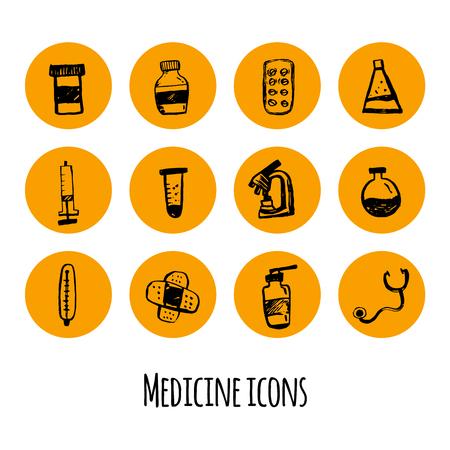 prescription drugs: Medicine doodle sketch icon set. Hand drawn health care illustrations