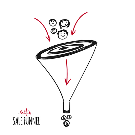 Hand drawn concept of sale funnel. Lead concept with arrow, strategy to income. Can be used for business presentations, social media, web