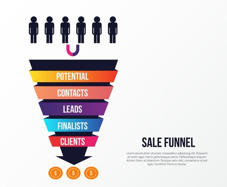 販売目標到達プロセスの段階とインフォ グラフィック。矢印、利益戦略と概念を導きます。ビジネス プレゼンテーション、ソーシャル メディア、we