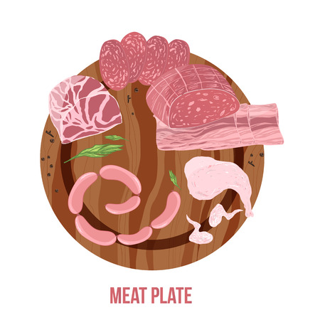 roasted: Meat plate top view with sausage, chicken leg and wings, ham on wooden background