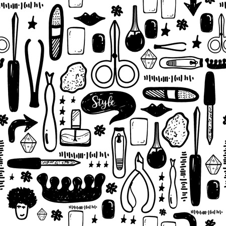 pinzas: Black Manicure tools hand drawn vector seamless pattern with lettering and hand drawn make up items Vectores