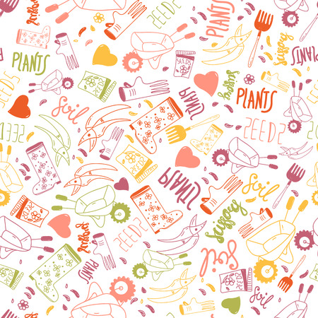 outgrowth: Funny seamless gardening pattern with lettering and equipment. Perfect for wrapping, clothes.