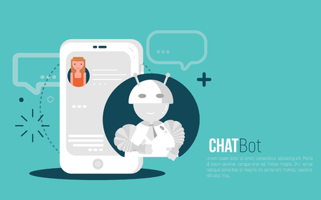 Chatbot business concept. User Girl chatting with robot mobile application. Bot concept in flat modern style. Vector illustration