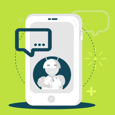 bot: Chatbot business mobile application concept. Chating flat bot in modern style. Vector illustration Illustration