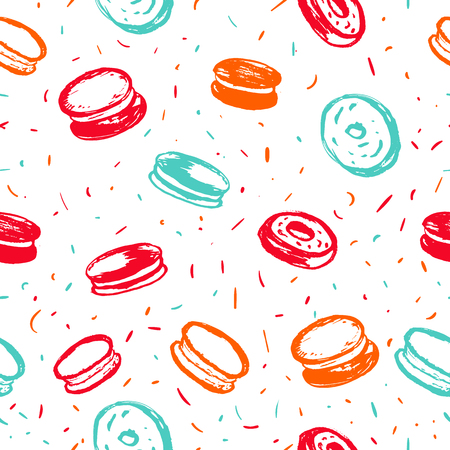 Cupcake, macaroon and muffin bright hand drawn seamless pattern. Hand drawn items collection. Ilustrace