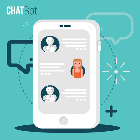 Chatbot business concept. User Girl chatting with robot mobile application. Bot concept in flat modern style. Vector illustration. Stock Photo