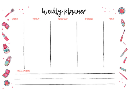 organiser: Weekly Planner Template for daily activity. Organizer with To Do List. Vector schedule in Trendy Style.
