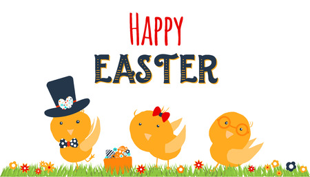 Chicken greeting card. Happy Easter cartoon design with cute chicks and grass isolated on white background