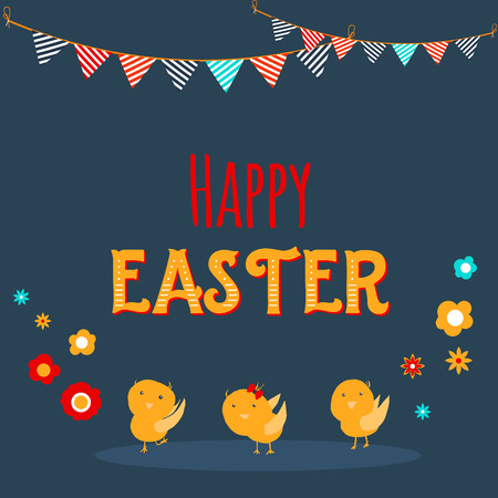 Chicken greeting card. Happy Easter cartoon design with cute chicks and flowers on dark background