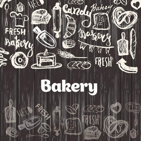 Hand drawn vector seamless pattern - collection of goodies, sweets, cakes and pastries. Background in sketch style for confectionery and bakery shops. Perfect for menu, cards, blogs, banners, flyers