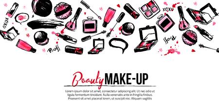Site-Banner-Vorlage für Make-up-Künstler, Studio Site Header, Visitenkarte, Broschüre und Flyer.Watercolor Hintergrund in Pastellfarben Standard-Bild - 74405441