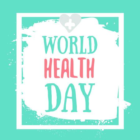Illustration vectorielle de conception de texte concept journée santé mondiale avec c?ur sur fond grunge