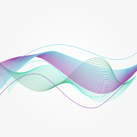 Blue Vector music sound waves. Abstract energy curve flow in modern style Illustration