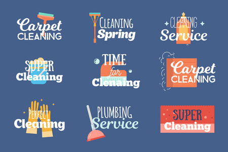 Modern cleaning and plumbing services labels, logos, badges set with wash, sponge household concept vector illustration