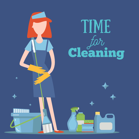 Young Girl With Cleaning Supplies concept illustration. Housework cleaner with professional washing items for your design Illustration