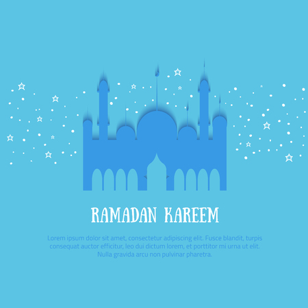 Ramadan Kareem colorful vector illustration with typography and palace, stars. Minimalistic paper illustration