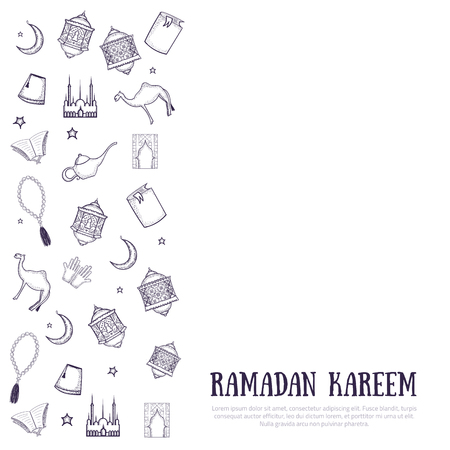 Printable minimalistic Ramadan Kareem greeting card vector illustration with arabic typography with sketch lantern, palace, moon. Vetores