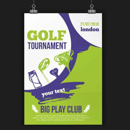 ゴルフ ・ フライヤー ・ ベクトル図です。手でトーナメントのデザインの招待は、グランジの要素を描画します。あなたの昇進のために編集しやす  イラスト・ベクター素材