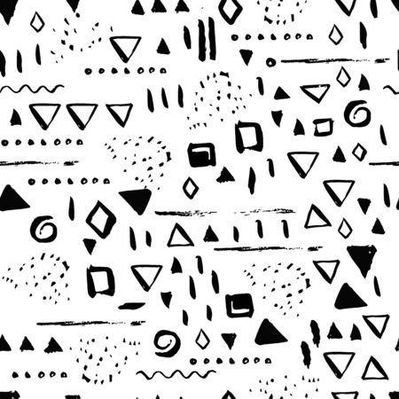 swooshes: Geometric Seamless pattern with lines and squares. Minimal scandinavian modern vector background for fabric, paper, greeting cards.