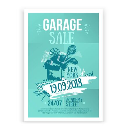 Print Garage Sale poster design with hand drawn elements in trendy style. Grunge old flea background