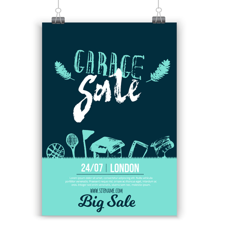 Garage Sale poster layout with hand drawn elements and lettering in trendy style. Grunge old flea background Stock fotó