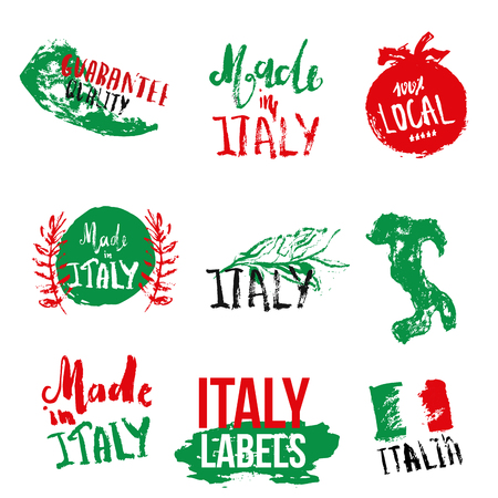quality guarantee: Set of Italian labels for product package in grunge hand drawn style with flag, map and lettering.