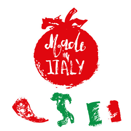 quality guarantee: Set of Italian labels for product package in grunge hand drawn style