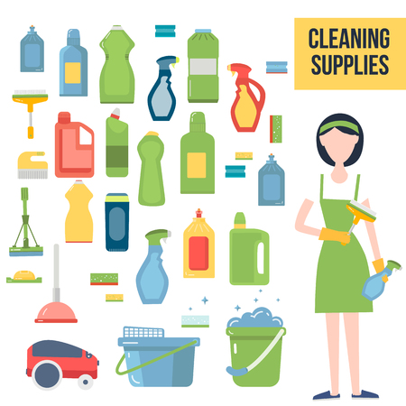 cleanliness: Cleaning supplies and woman staff service flat icons set