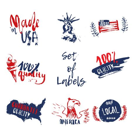 nationalism: Made in USA set of grunge hand drawn labels with american flag, statue of liberty. Illustration