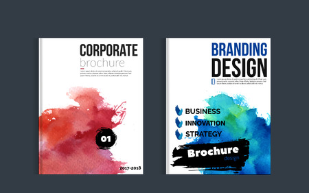 magazine design: Impressive watercolor brochure design with blue and red stain for your promotion Illustration