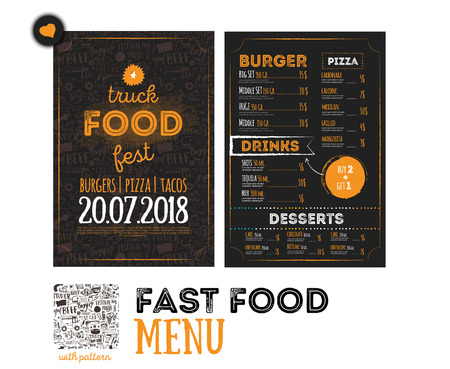 Street junk food festival menu cover design. Festival Design template with hand-drawn graphic elements and lettering. Vector menu board. Vettoriali
