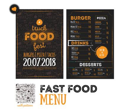 Diseño de la cubierta del menú del festival de la comida basura de la calle. Festival Plantilla de diseño con elementos gráficos a mano y letras. Tablero del menú del vector. Ilustración de vector