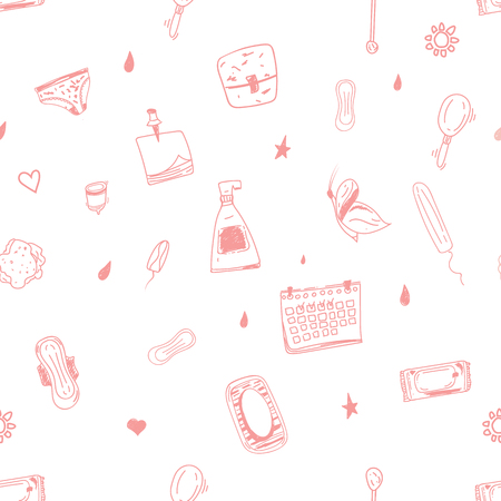 Female hygiene seamless pattern in pink colors. Easy to use for print, promo, banners, backgrounds.