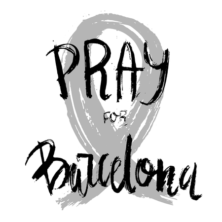 syria peace: Pray for Barcelona, 17 August 2017, black ribbon, Attack Victims. Vector illustration