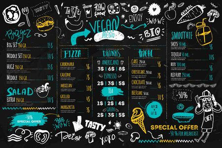Vegan menu with hipster chef, doodle organic food and lettering. Funny ecological concept on dark chalk board. Ilustração