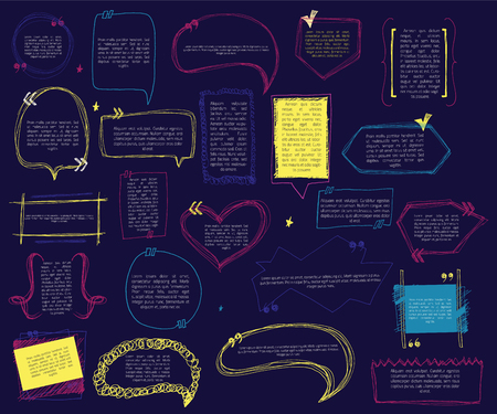 bright: colored speech quotation set with text on dark background in cartoon style. Dialog symbol.