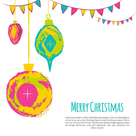 Bright christmas card with grunge balls and garland. Flat simple design for celebration invitation.