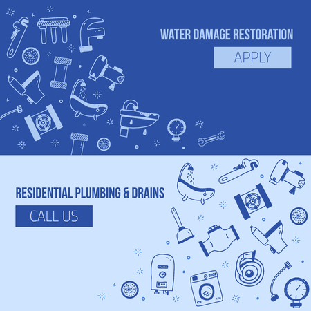 Set of plumbing banners with icons in doodle hand drawn style. Pipe equipment for home repair works with signs of bathroom, faucet, plunger, valve, heating boiler. Vector illustration for advertising.