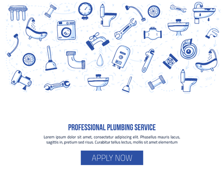 Plumbing header banner with icons in doodle hand drawn style. Pipe equipment for home repair works with signs of bathroom, faucet, plunger, valve, heating boiler. Vector illustration for advertising. 일러스트