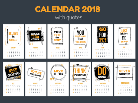 Calendar with inspiring quotes 2018, Bright colorful year template